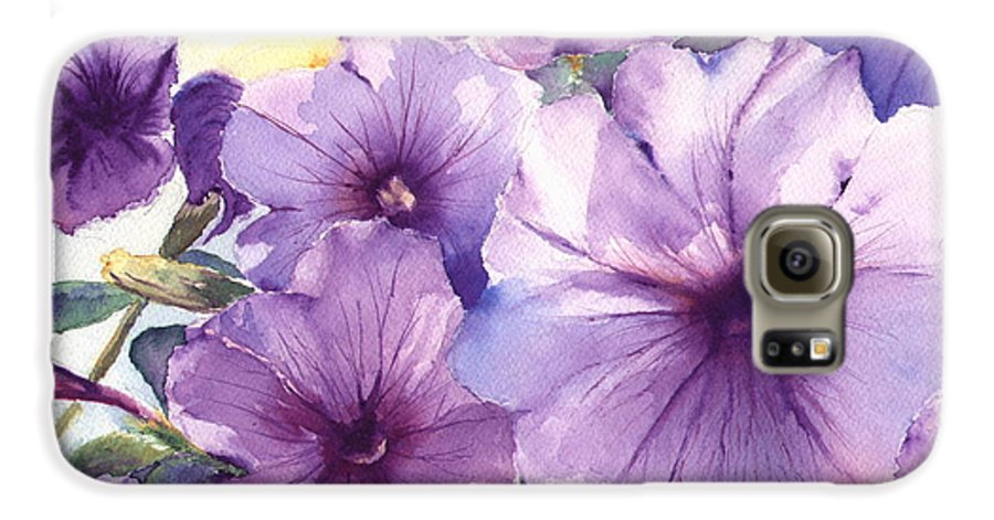 Purple Galaxy S6 Case featuring the painting Purple Profusion by Patricia Henderson