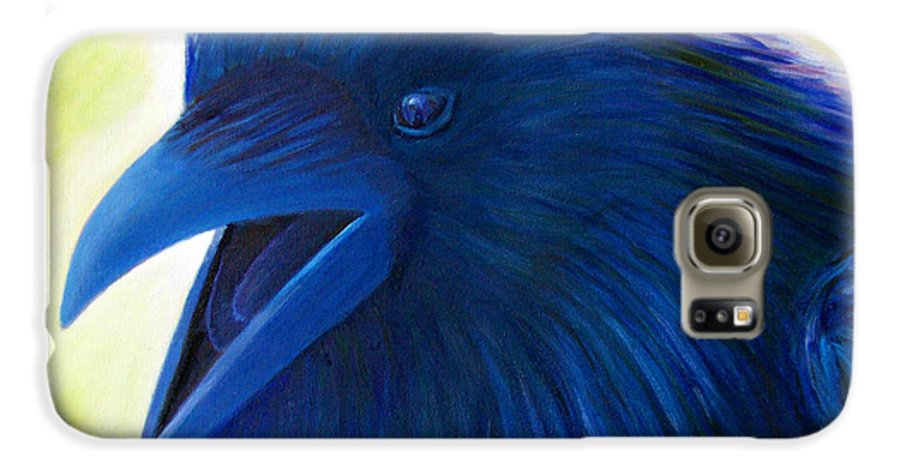 Raven Galaxy S6 Case featuring the painting Raaawk by Brian Commerford