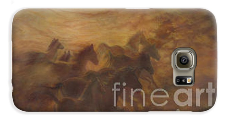 Horse Galaxy S6 Case featuring the painting Racing The Wind by Wendy Froshay