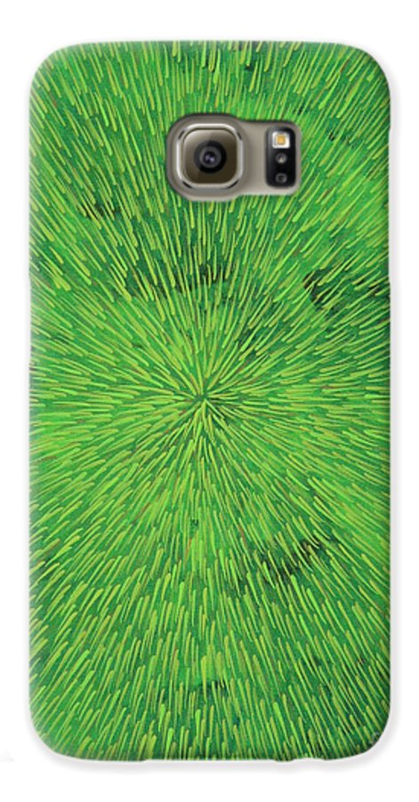 Abstract Galaxy S6 Case featuring the painting Radiation Green by Dean Triolo