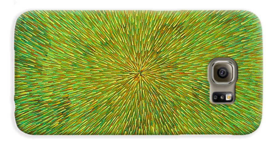 Abstract Galaxy S6 Case featuring the painting Radiation With Green Yellow And Orange by Dean Triolo