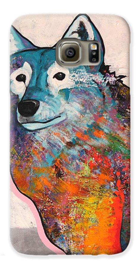 Animal Galaxy S6 Case featuring the painting Rainbow Warrior - Alfa Wolf by Joe Triano