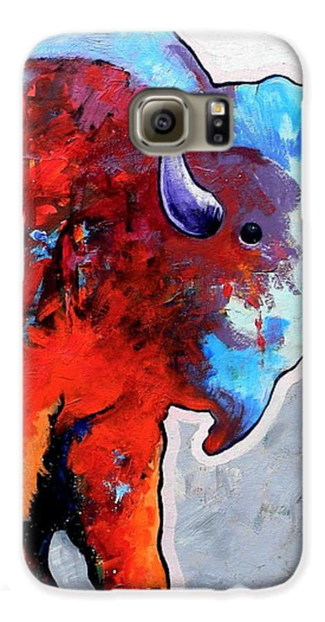 Wildlife Galaxy S6 Case featuring the painting Rainbow Warrior Bison by Joe Triano