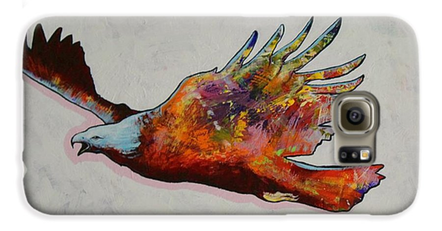 Wildlife Galaxy S6 Case featuring the painting Rainbow Warrior Flying Eagle by Joe Triano