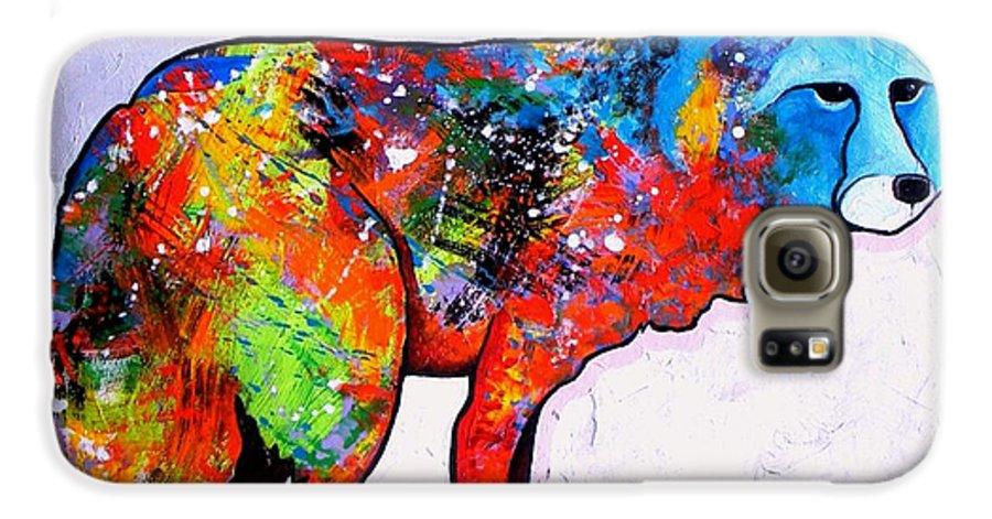Animal Galaxy S6 Case featuring the painting Rainbow Warrior - Fox by Joe Triano