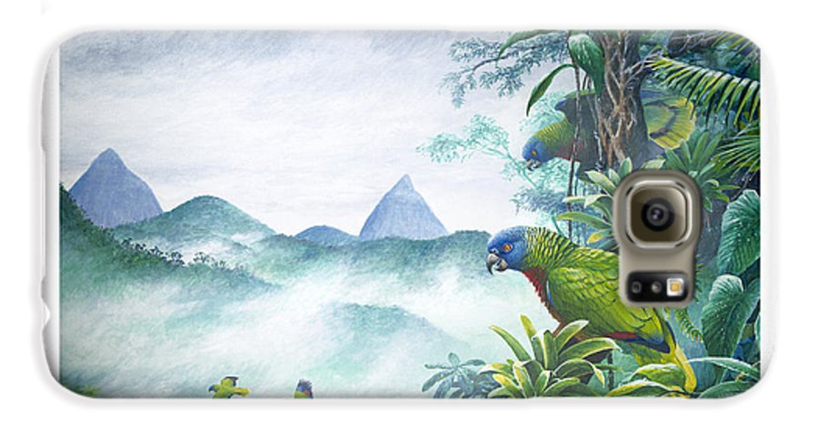 Chris Cox Galaxy S6 Case featuring the painting Rainforest Realm - St. Lucia Parrots by Christopher Cox