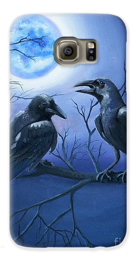 Ravens Galaxy S6 Case featuring the painting Raven's Moon by Lora Duguay