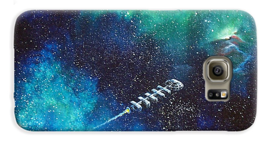 Spacescape Galaxy S6 Case featuring the painting Reaching Out by Murphy Elliott