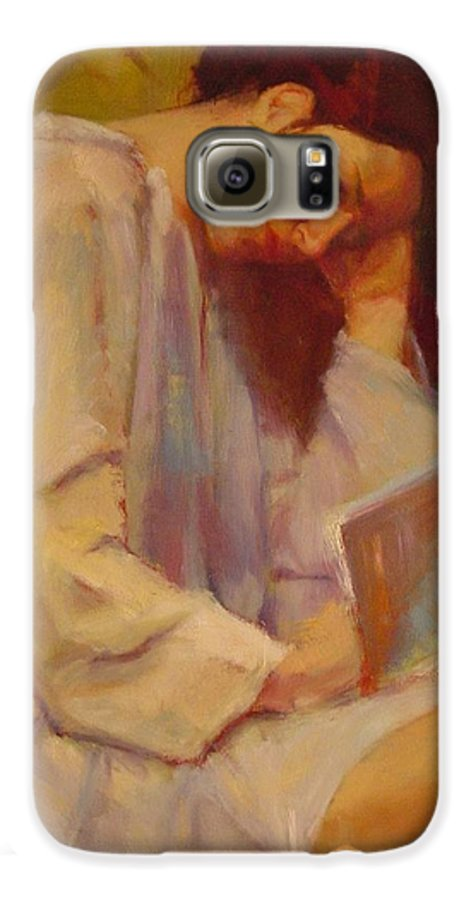 Figure Galaxy S6 Case featuring the painting Reading In The Blue Robe by Irena Jablonski