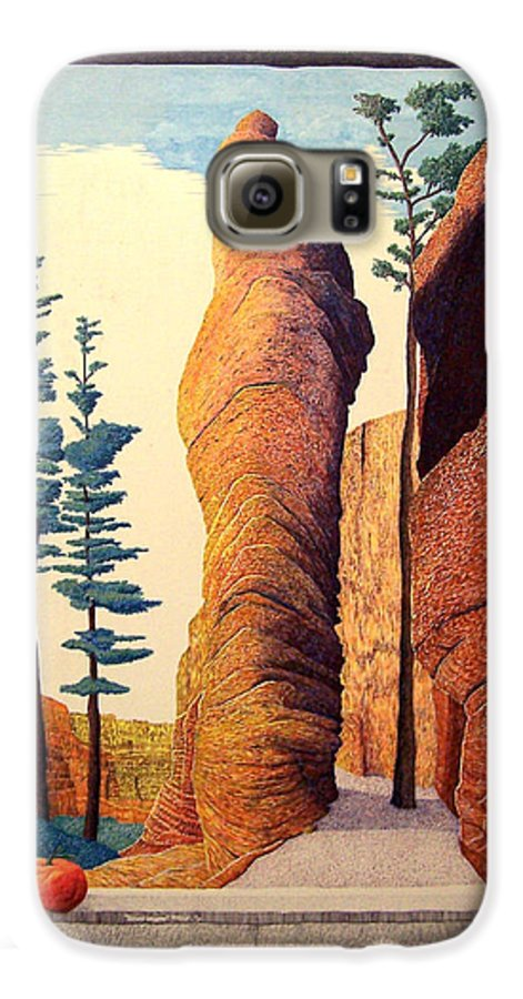 Landscape Galaxy S6 Case featuring the painting Reared Window by A Robert Malcom