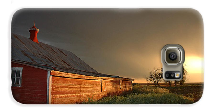 Barn Galaxy S6 Case featuring the photograph Red Barn At Sundown by Jerry McElroy