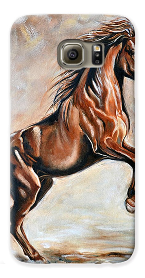 Horse Galaxy S6 Case featuring the painting Red Beauty by Ilse Kleyn