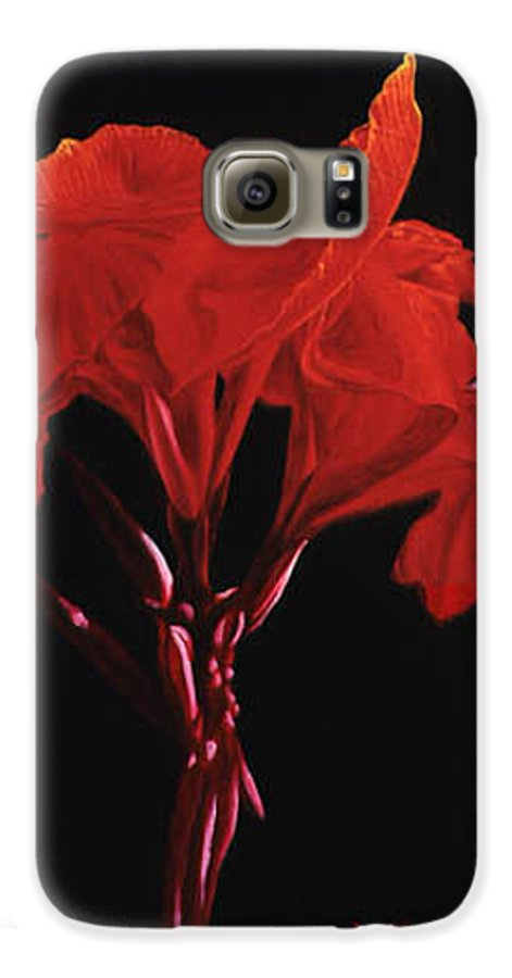 Floral Galaxy S6 Case featuring the painting Red Canna by Gary Hernandez