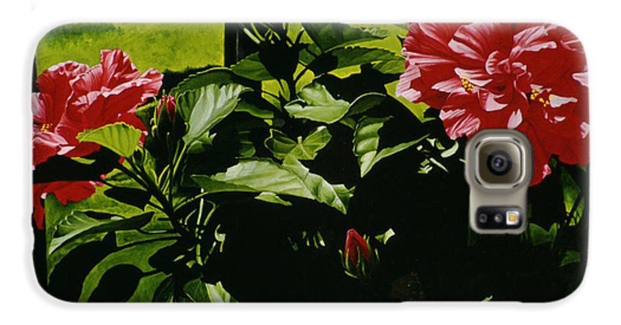 Floral Galaxy S6 Case featuring the painting Red Hibiscus by Gary Hernandez