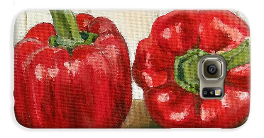 Food Galaxy S6 Case featuring the painting Red Pepper by Sarah Lynch