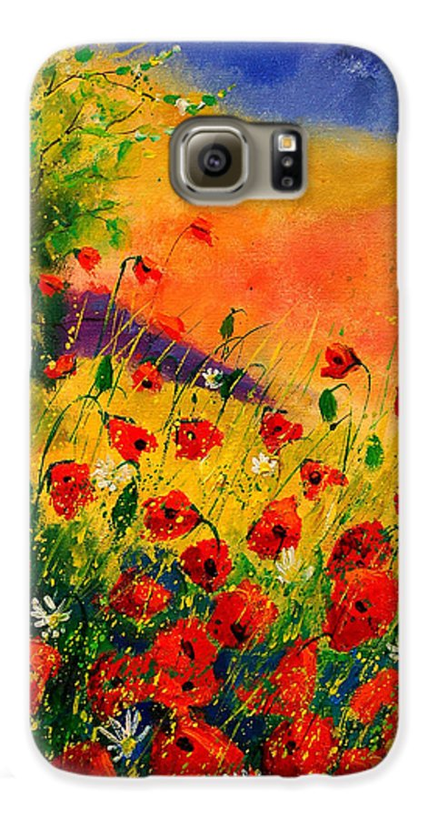 Poppies Galaxy S6 Case featuring the painting Red Poppies 45 by Pol Ledent