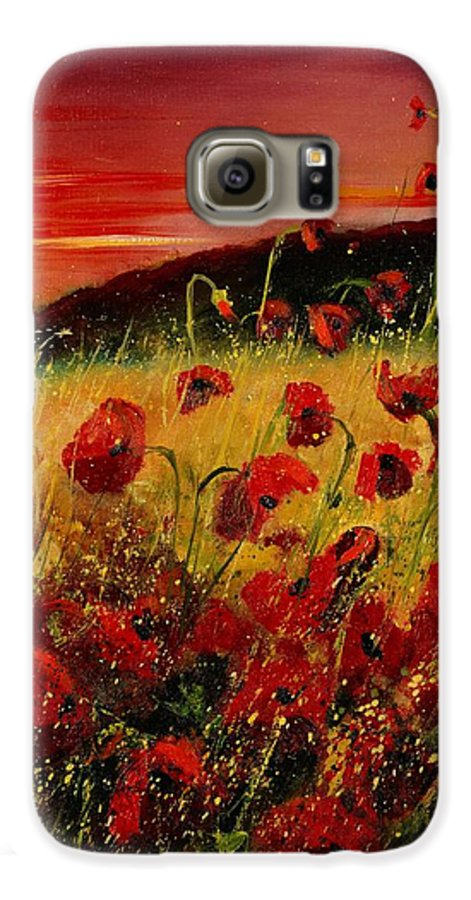 Poppies Galaxy S6 Case featuring the painting Red Poppies And Sunset by Pol Ledent