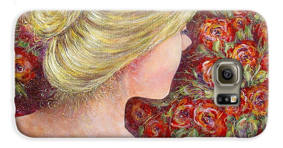 Female Galaxy S6 Case featuring the painting Red Scented Roses by Natalie Holland
