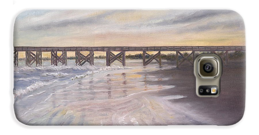 Beach; Pier; Low Country Galaxy S6 Case featuring the painting Reflections by Ben Kiger