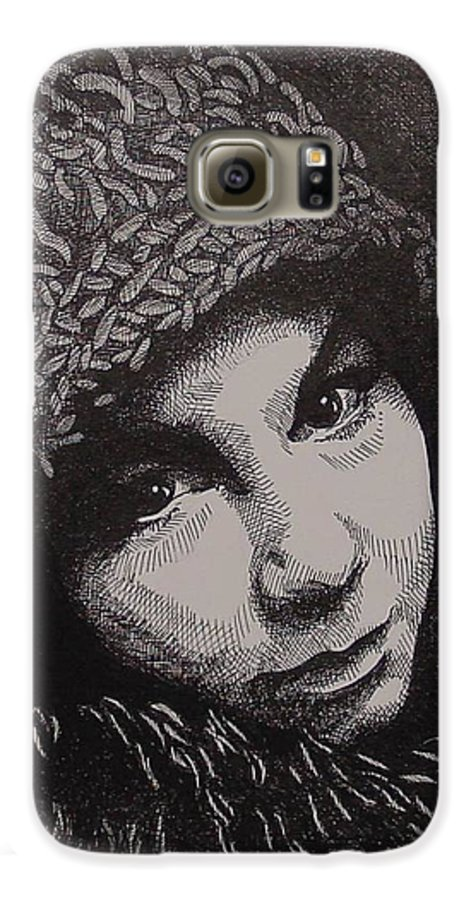 Portraiture Galaxy S6 Case featuring the drawing Rena by Denis Gloudeman