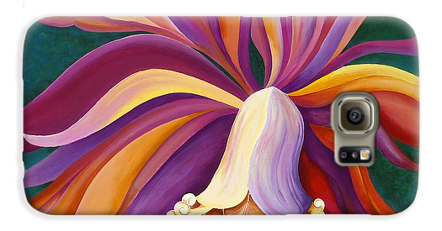 Orchid Galaxy S6 Case featuring the painting Ribbon Orchid by Carol Sabo