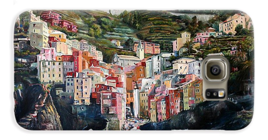 Cinque Terre Galaxy S6 Case featuring the painting Riomaggiore Glory- Cinque Terre by Jennifer Lycke