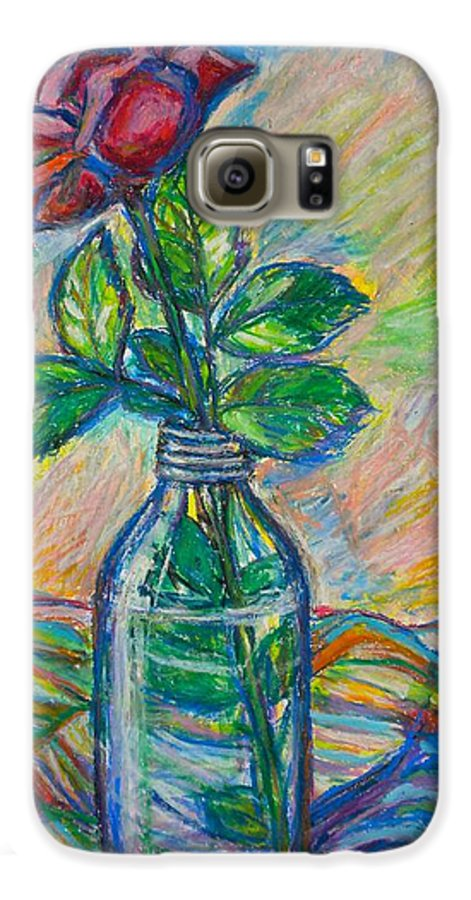 Still Life Galaxy S6 Case featuring the painting Rose In A Bottle by Kendall Kessler