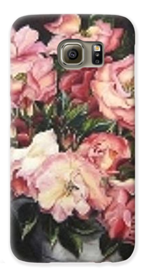 Pink Roses Floral Flowers Galaxy S6 Case featuring the painting Roses In A Watercan by Karin Dawn Kelshall- Best
