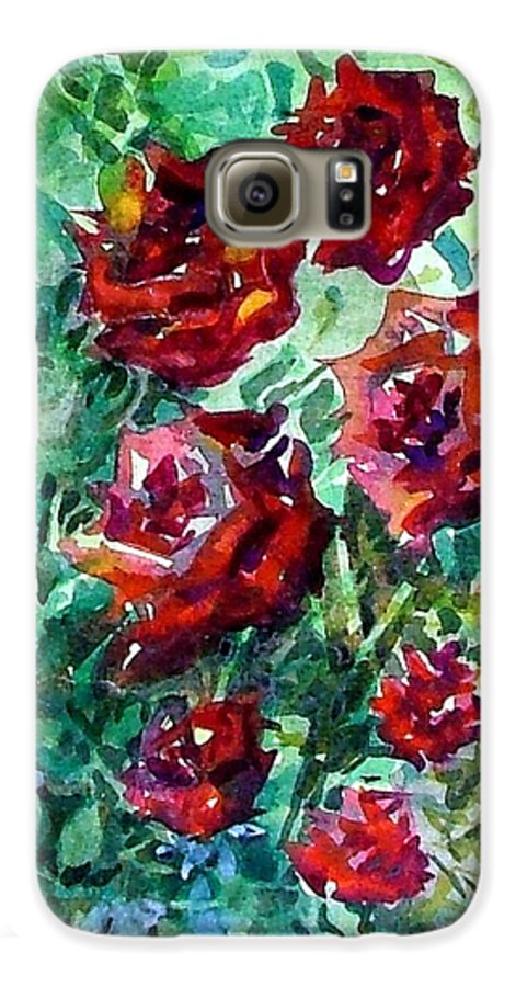 Rose Galaxy S6 Case featuring the painting Roses by Mindy Newman