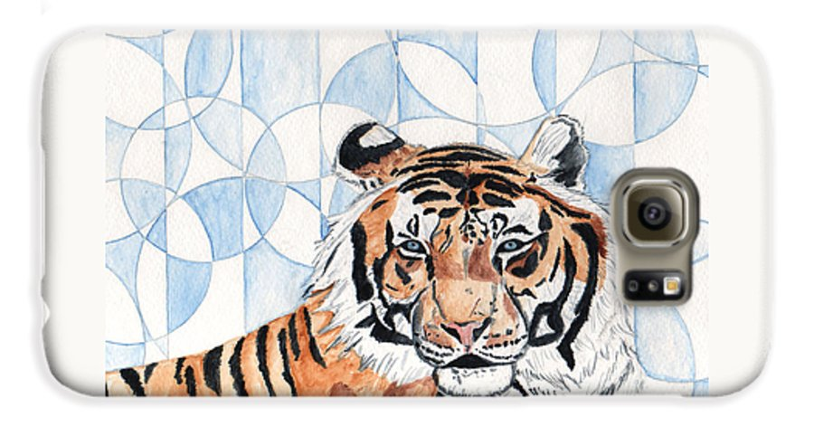 Tiger Galaxy S6 Case featuring the painting Royal Mysticism by Crystal Hubbard