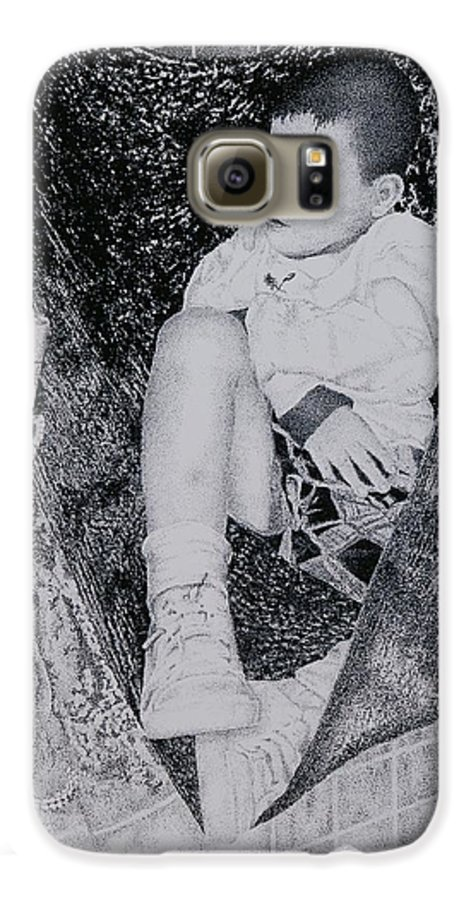 Tot Child Sleeping Boy Galaxy S6 Case featuring the painting Safety Net by Tony Ruggiero