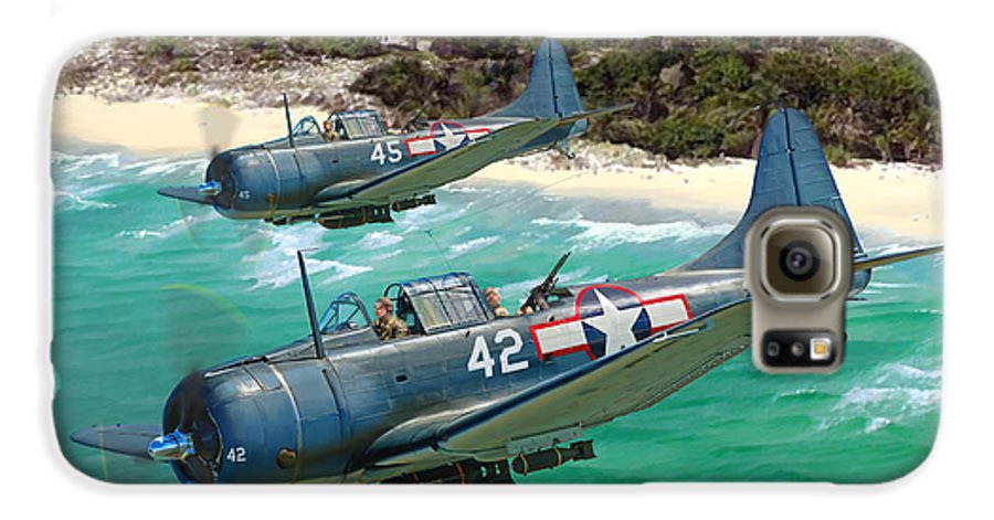 Aviation Galaxy S6 Case featuring the painting Sbd Dauntless by Mark Karvon