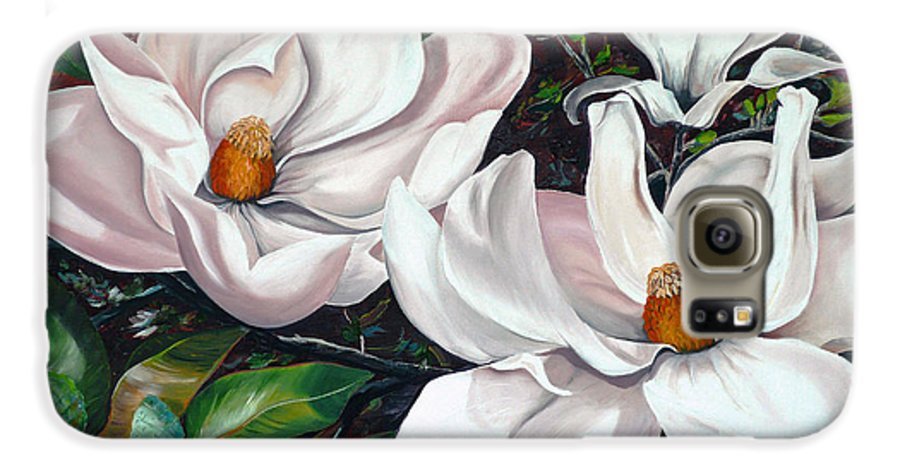 Magnolia Painting Flower Painting Botanical Painting Floral Painting Botanical Bloom Magnolia Flower White Flower Greeting Card Painting Galaxy S6 Case featuring the painting Scent Of The South. by Karin Dawn Kelshall- Best