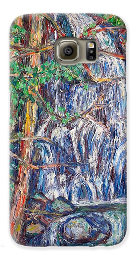 Waterfall Galaxy S6 Case featuring the painting Secluded Waterfall by Kendall Kessler
