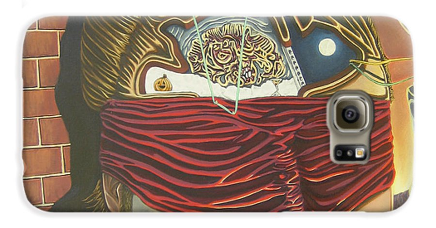 Self Portrait Galaxy S6 Case featuring the painting Subconcious Self Portrait by Mack Galixtar