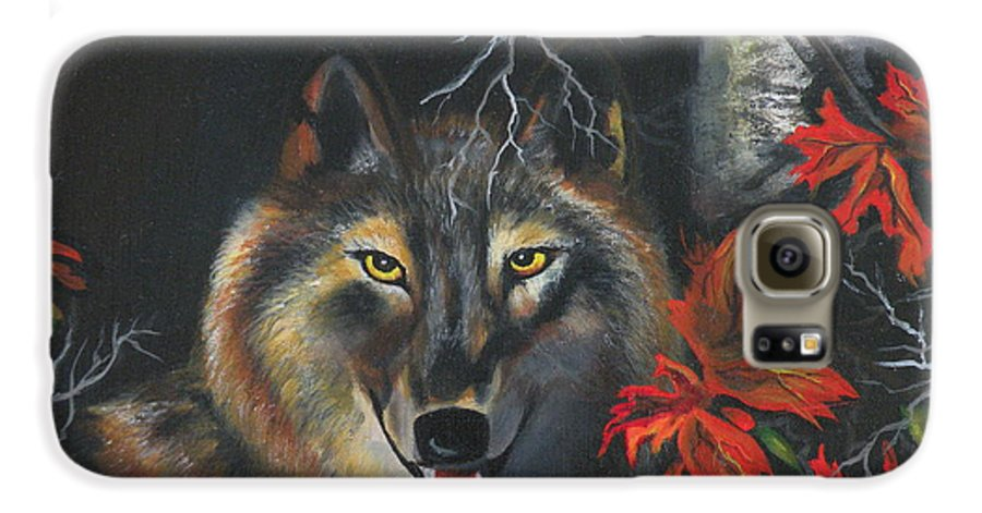 Wolf Galaxy S6 Case featuring the painting Seneca by Lora Duguay