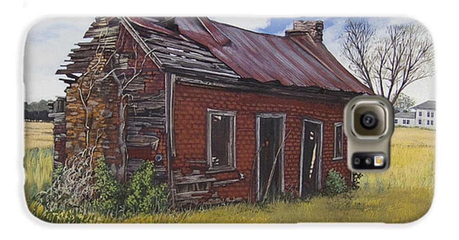 Landscape Galaxy S6 Case featuring the painting Sharecroppers Shack by Peter Muzyka