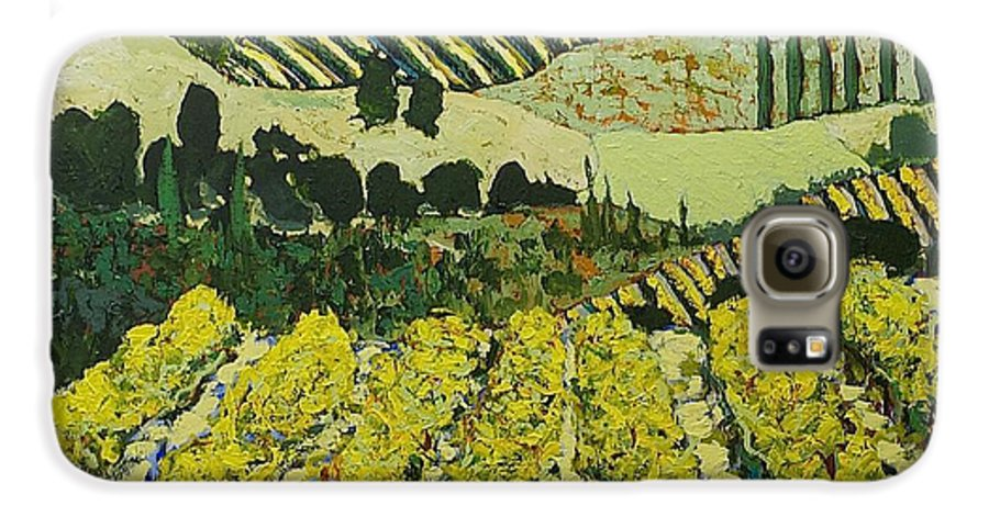 Landscape Galaxy S6 Case featuring the painting Sharing The Discovery by Allan P Friedlander