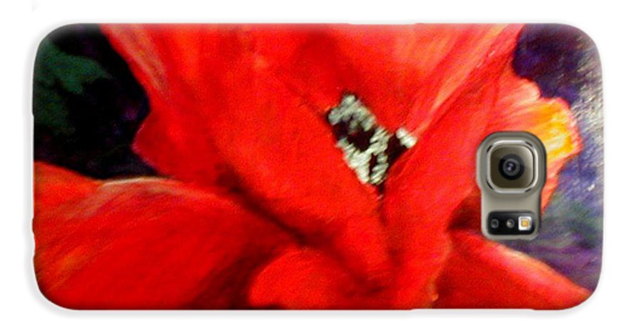 Floral Galaxy S6 Case featuring the painting She Wore Red Ruffles by Gail Kirtz