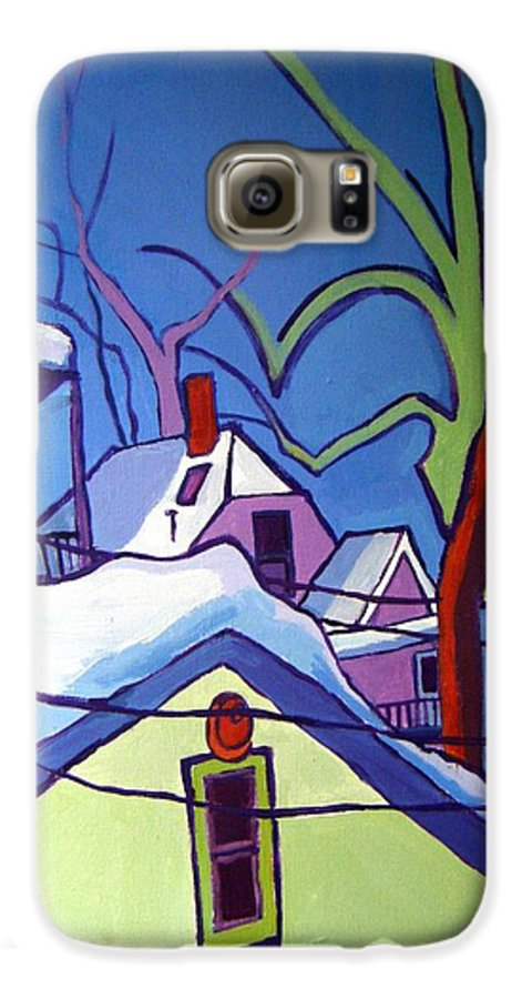 Buildings Galaxy S6 Case featuring the painting Sheffield Winter by Debra Bretton Robinson