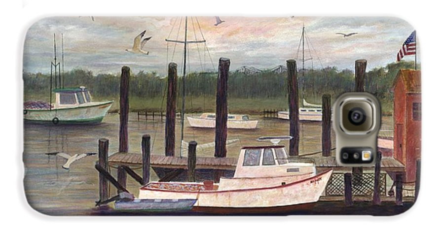 Charleston; Boats; Fishing Dock; Water Galaxy S6 Case featuring the painting Shem Creek by Ben Kiger