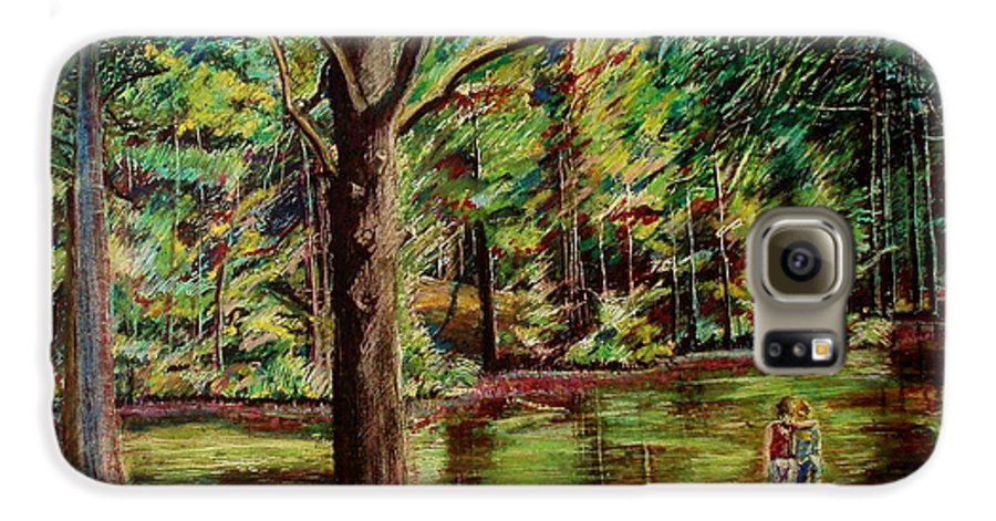 New Hampshire Galaxy S6 Case featuring the pastel Sisters At Wason Pond by Sean Connolly