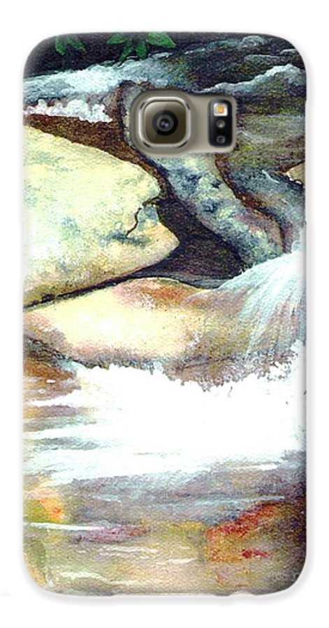 Fine Art Galaxy S6 Case featuring the painting Smoky Mountains Waterfall by Patricia Griffin Brett