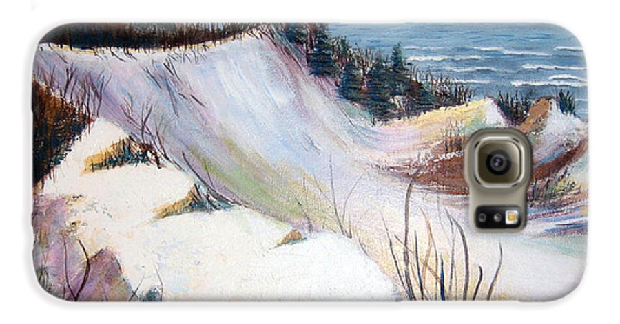 Snow Galaxy S6 Case featuring the painting Snow On The Dunes by Art Nomad Sandra Hansen
