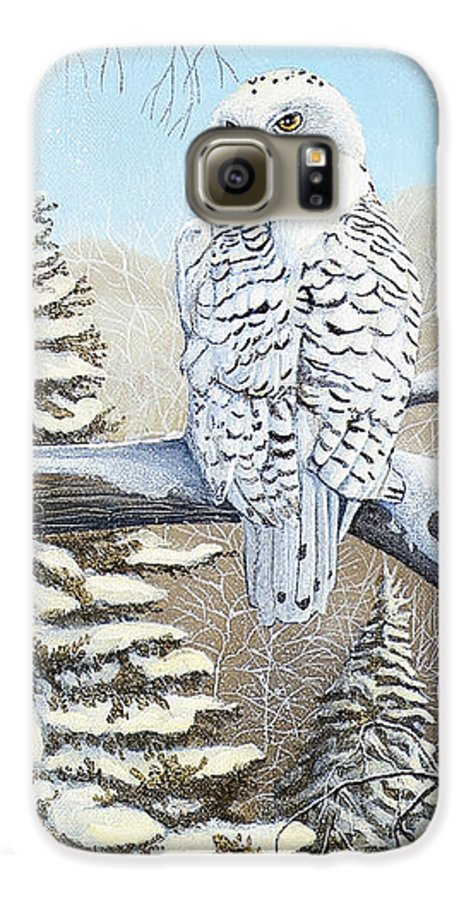 Rick Huotari Galaxy S6 Case featuring the painting Snowy Owl by Rick Huotari
