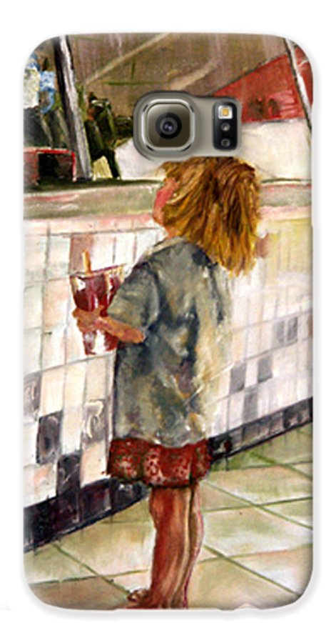 Soda Galaxy S6 Case featuring the painting Soda Girl by CJ Rider