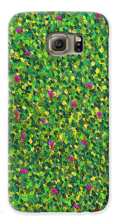 Abstract Galaxy S6 Case featuring the painting Soft Green With Pink by Dean Triolo
