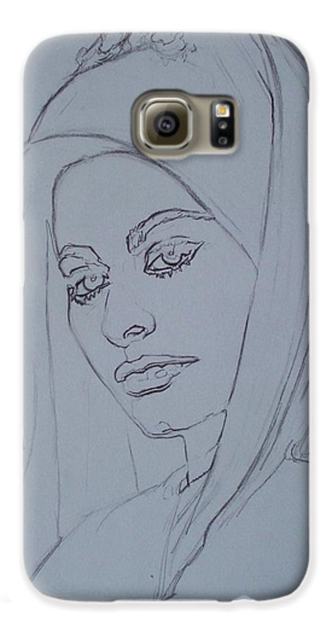 Woman Galaxy S6 Case featuring the drawing Sophia Loren In Headdress by Sean Connolly