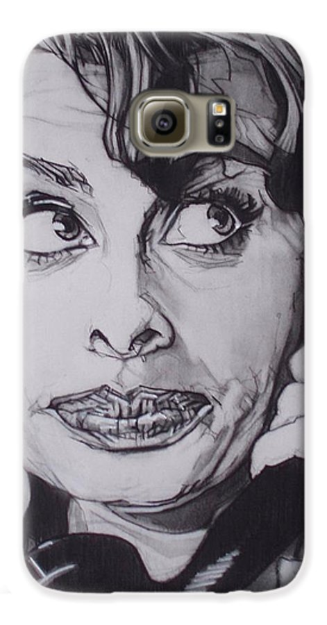 Charcoal;icon;actress;diva;italian;cat Eyes;beautiful;cute;adorable Galaxy S6 Case featuring the drawing Sophia Loren Telephones by Sean Connolly