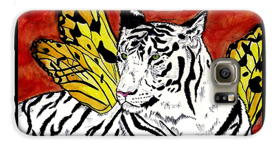 Tiger Galaxy S6 Case featuring the painting Soul Rhapsody by Crystal Hubbard